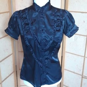 Lily white Black frilly button down blouse
